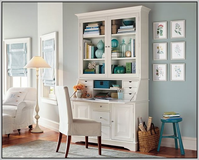 White Secretary Desk And Hutch