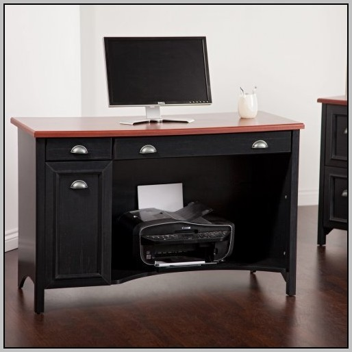 Wood Computer Desk In Black And Cherry