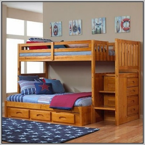 Wooden Bunk Beds With Stairs And Desk