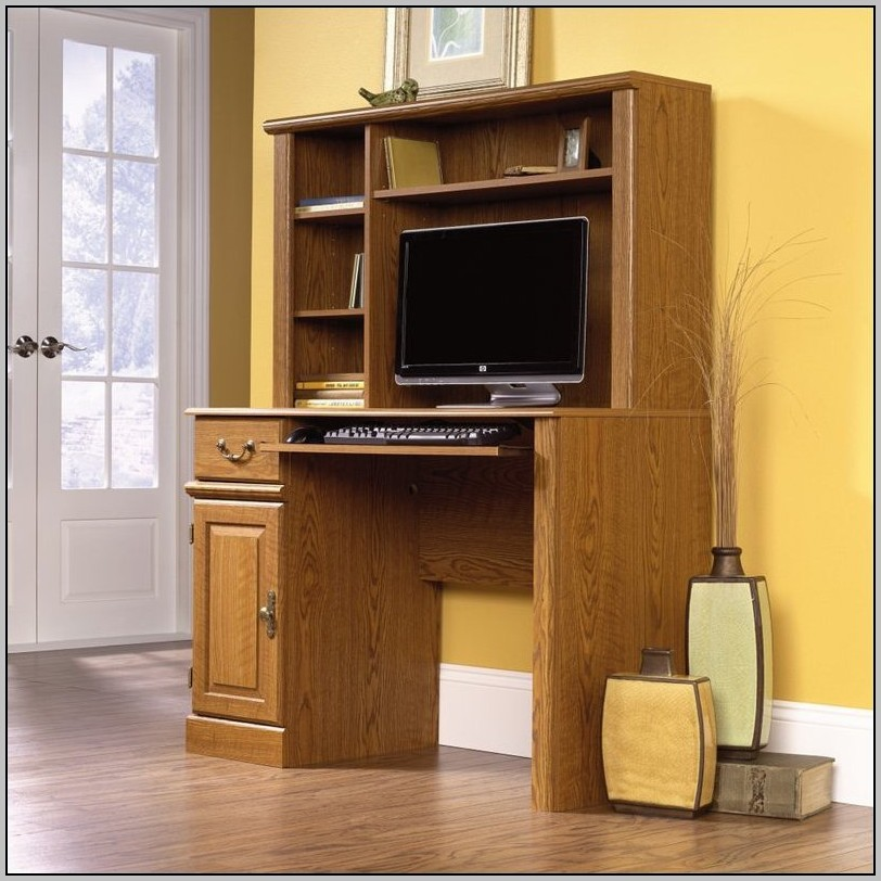 Axess Small Wood Computer Desk With Hutch In Pure Black