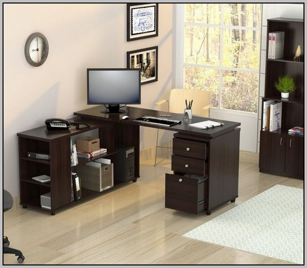 Bush Cabot L Shaped Computer Desk With Hutch Espresso Oak