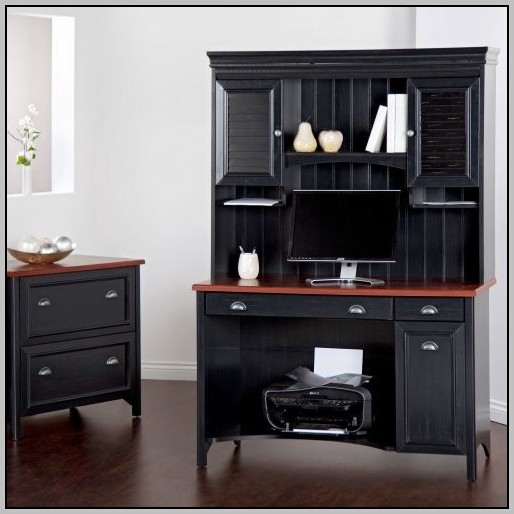 Bush Cabot L Shaped Desk With Optional Hutch And Accessories