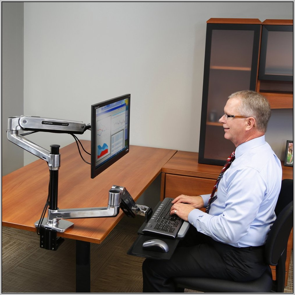 Ergotron Sit Stand Desk Mount System For Workfit Lx Workstation