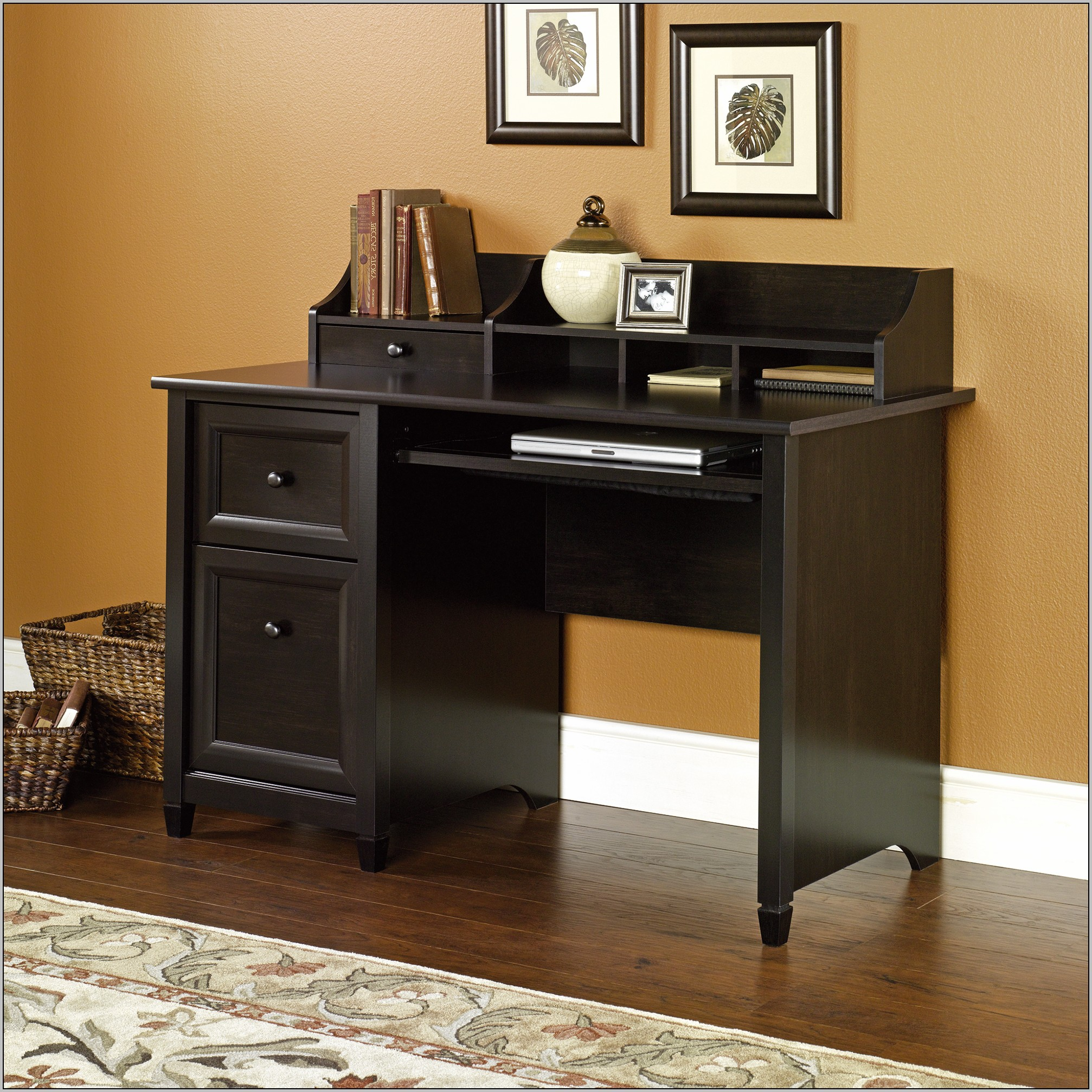 Estate Black Computer Desk With Hutch By Sauder