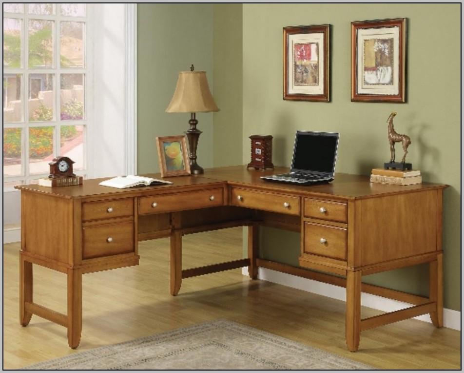 Executive L Shaped Mahogany Desk