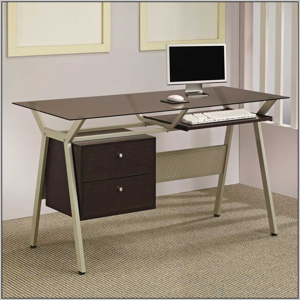Glass Computer Desk With Drawers