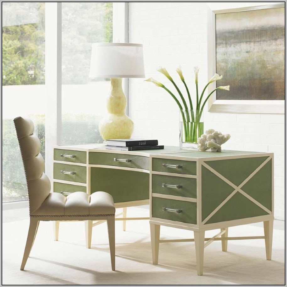 Glass Writing Desk With Drawers