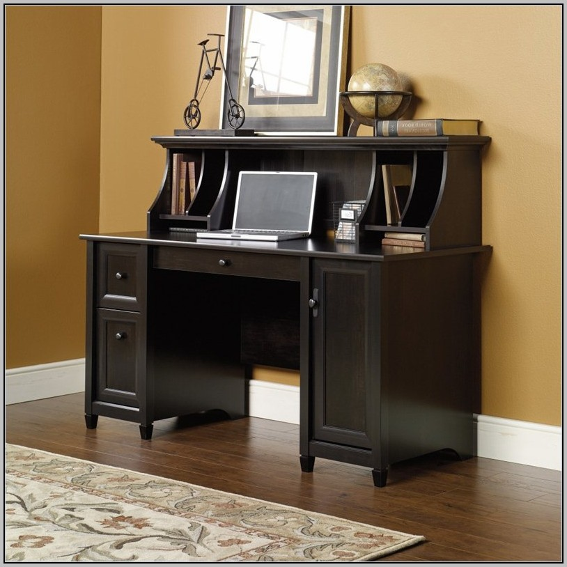 Laguna Black Computer Desk With Hutch