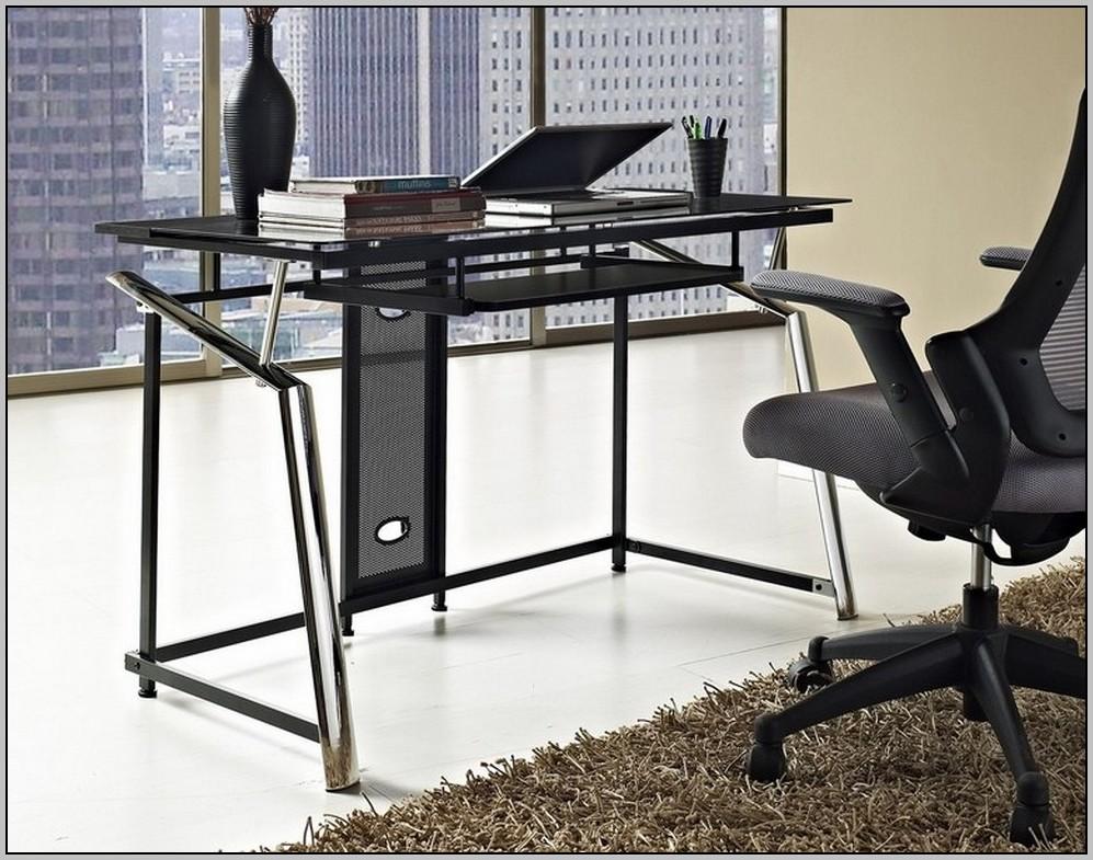 Mezza L Shaped Glass Computer Desk