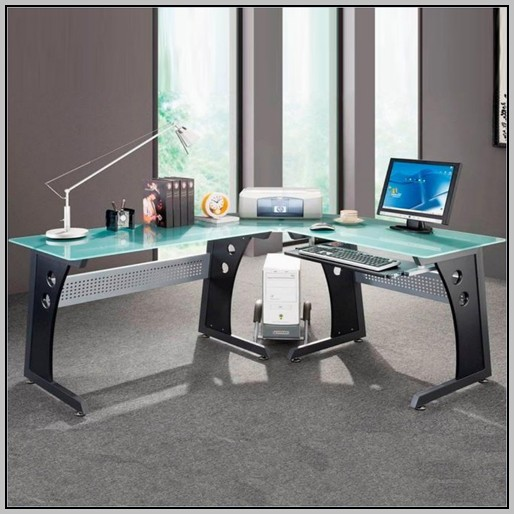 Office Desk L Shaped Glass
