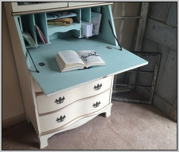 Painted Secretary Desk With Hutch