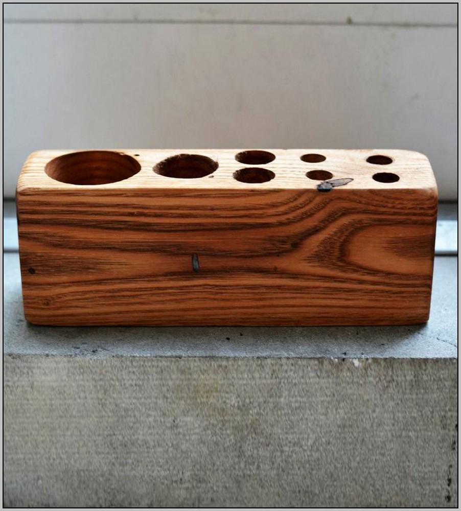 Rustic Wood Desk Organizer
