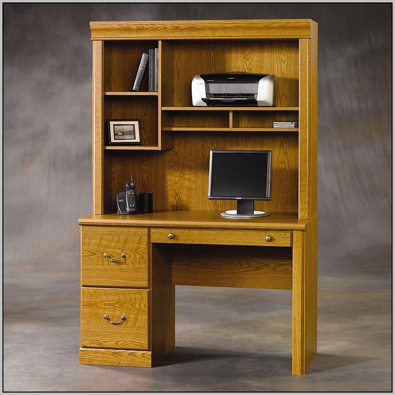 Sauder Computer Desk With Hutch Dark Alder