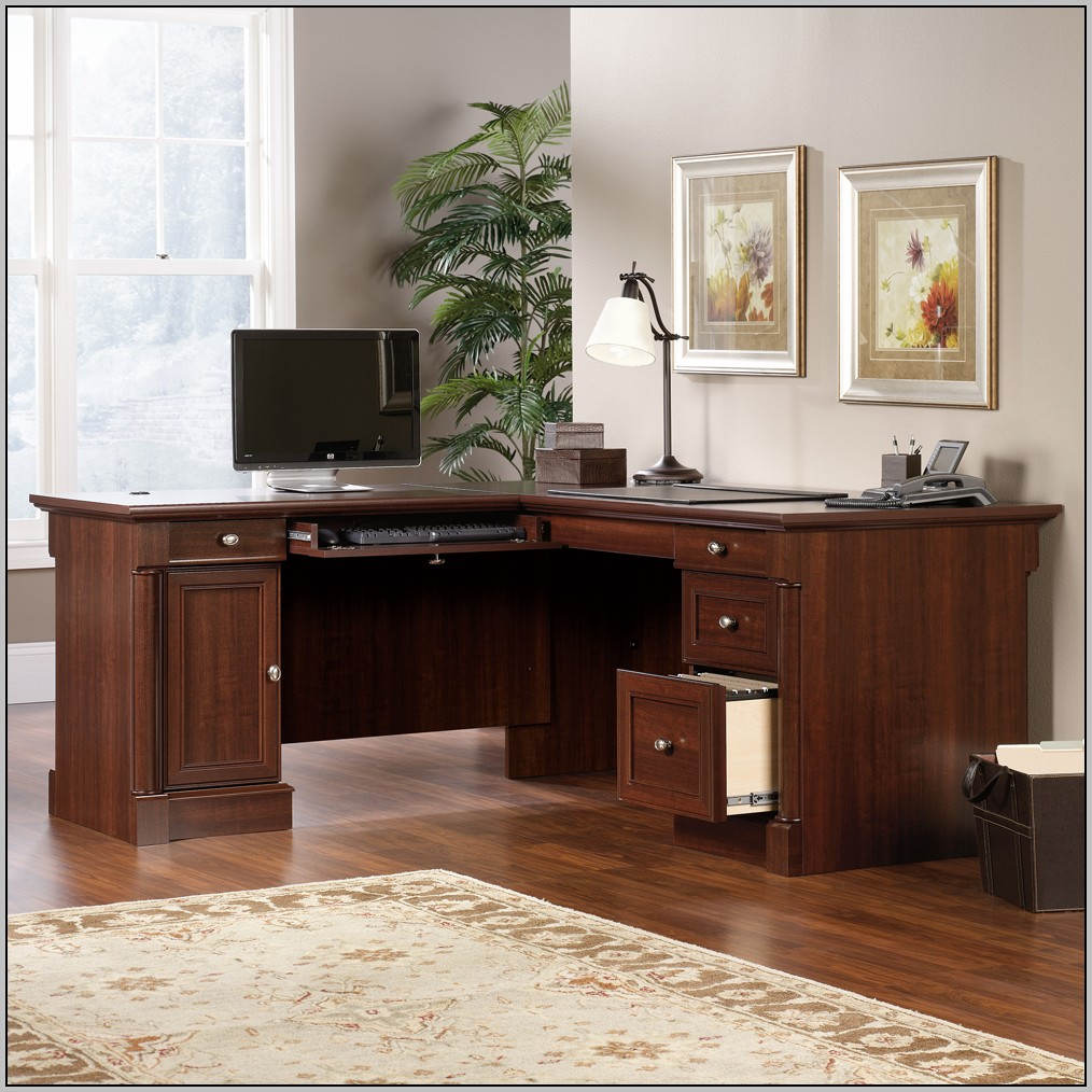 Sauder Select L Shaped Desk In Shaker Cherry