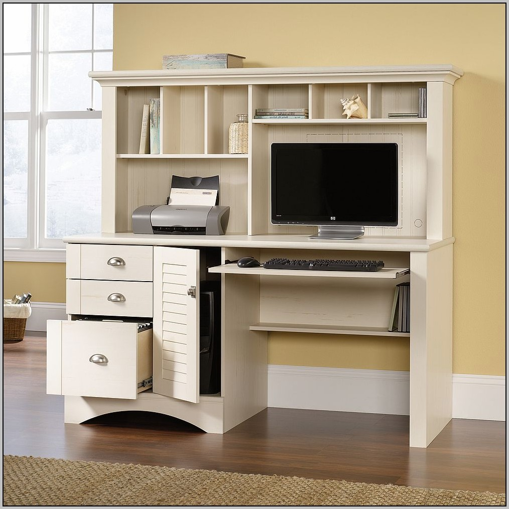 Sauder White Computer Desk With Hutch