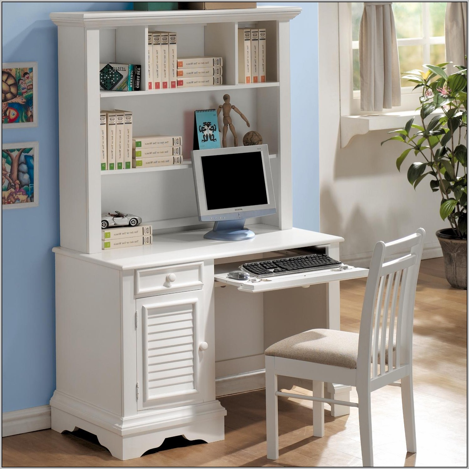 Selena White Computer Desk With Hutch