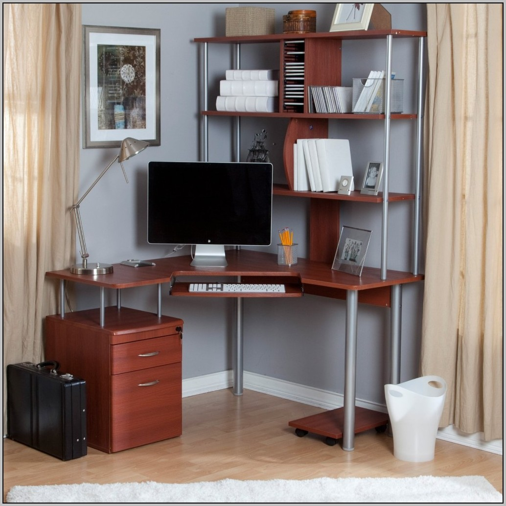 Small Corner Desk With Hutch Beech Effect
