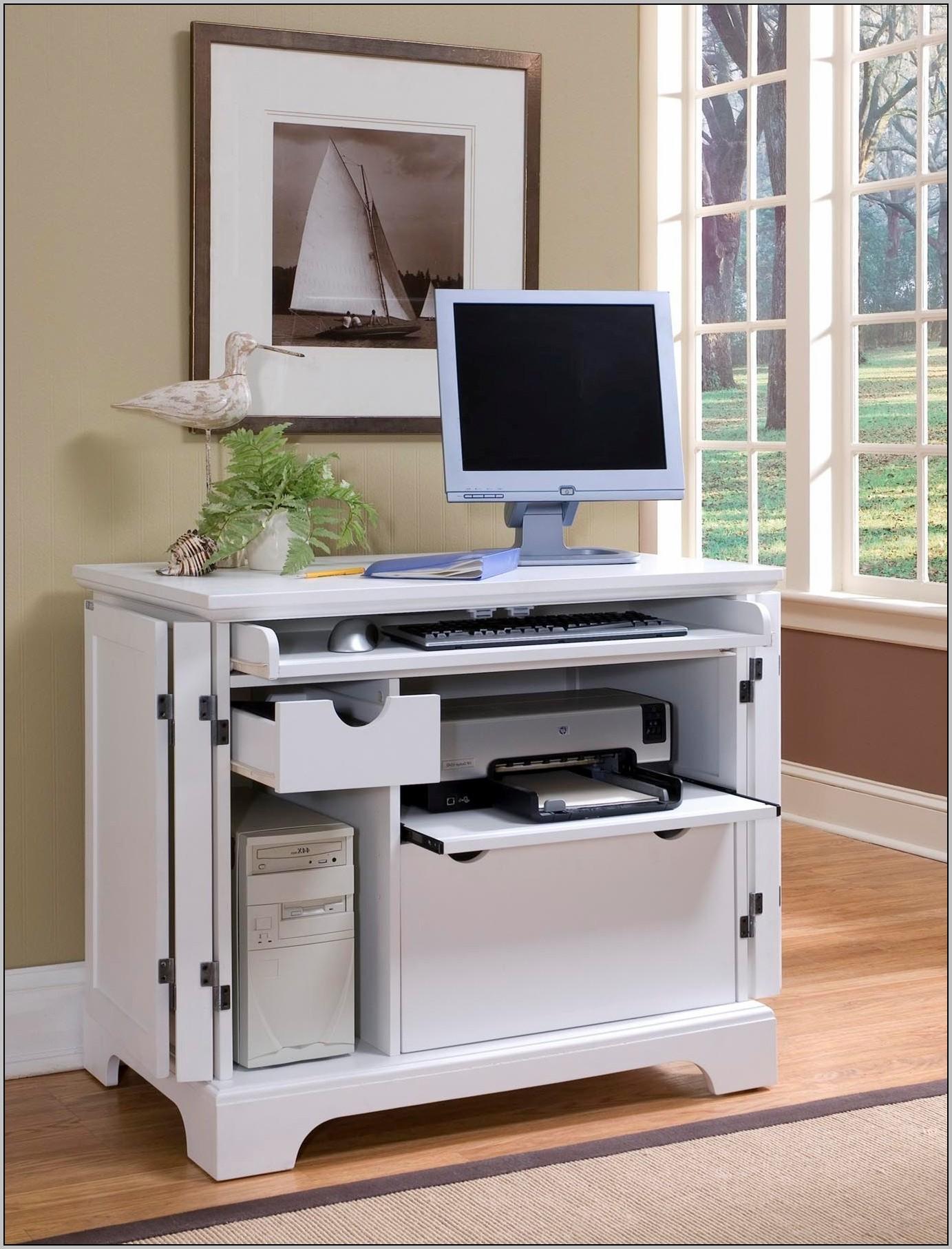 Small White Corner Computer Desk