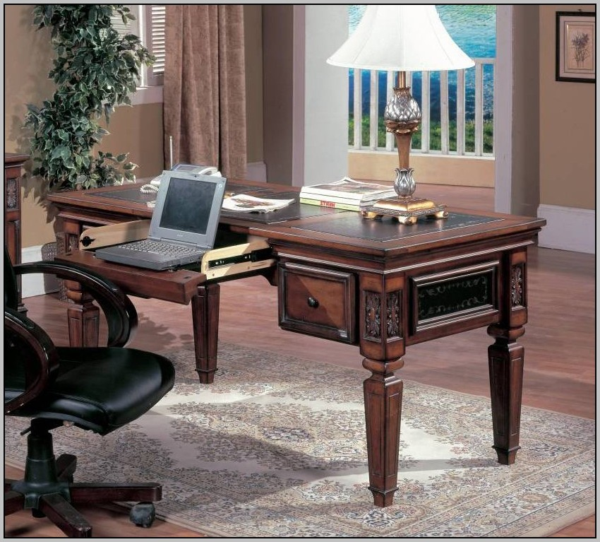 Solid Wood Writing Desk With Drawers