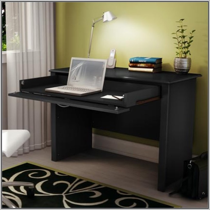 Tall Black Secretary Desk