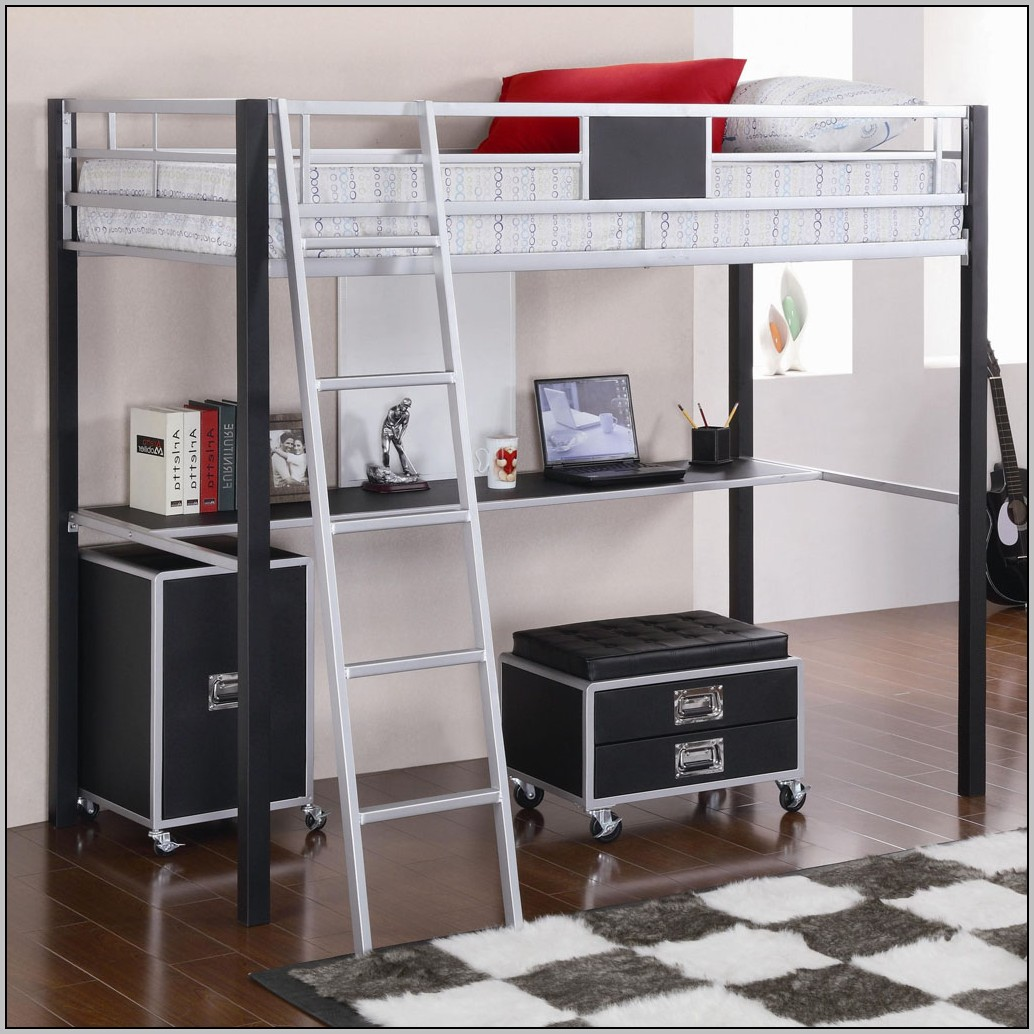 Twin Full Size Metal Bunk Bed With Desk In Black Finish