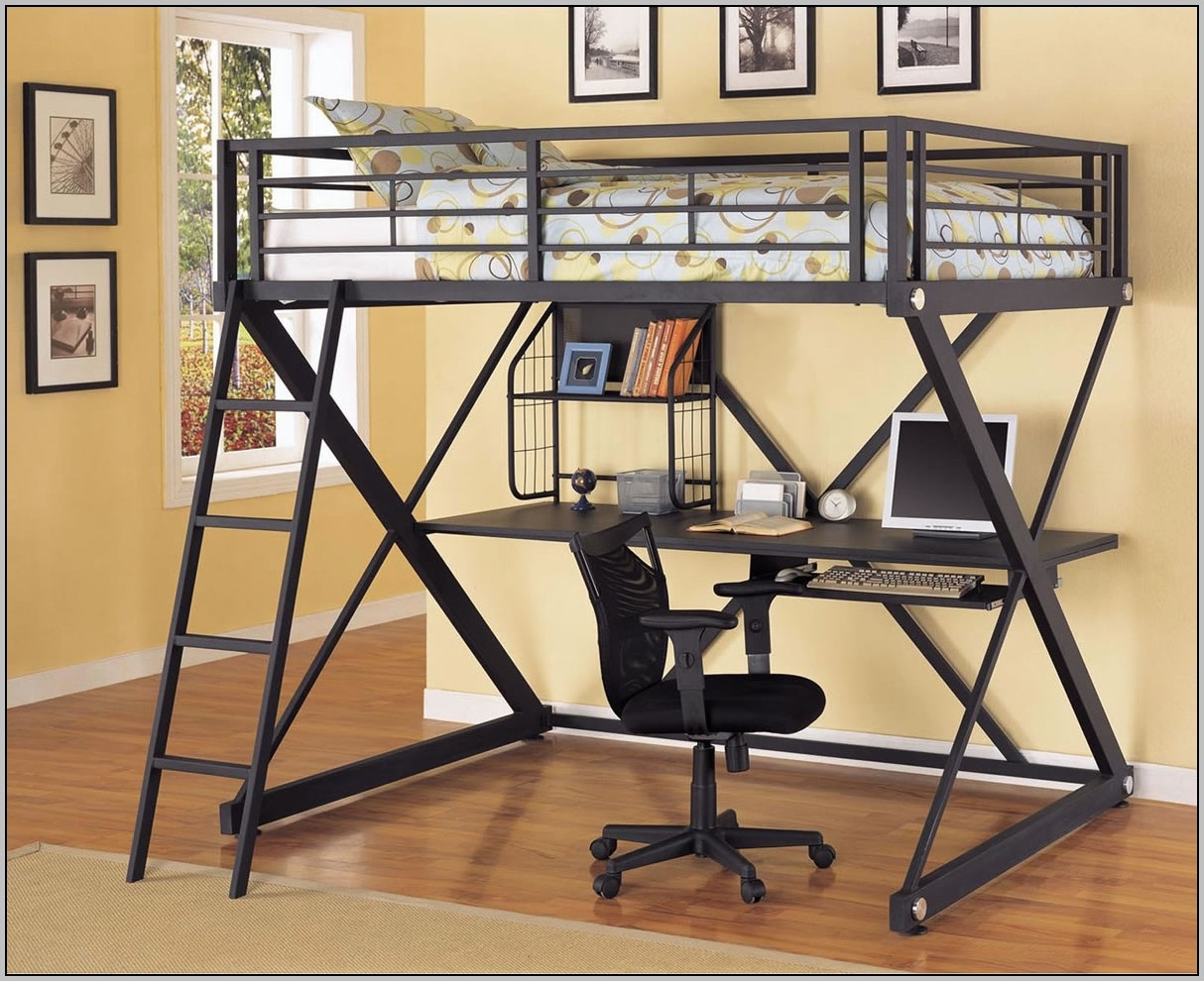 Twin Full Size Metal Bunk Bed With Desk