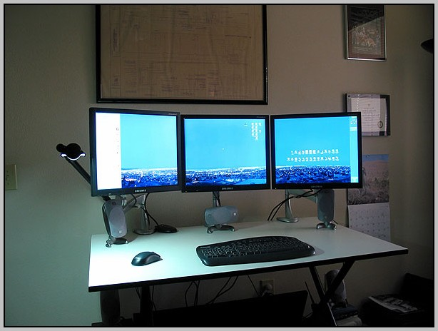 Two Monitor Computer Desk