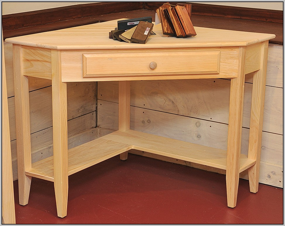 Unfinished Solid Wood Writing Desk