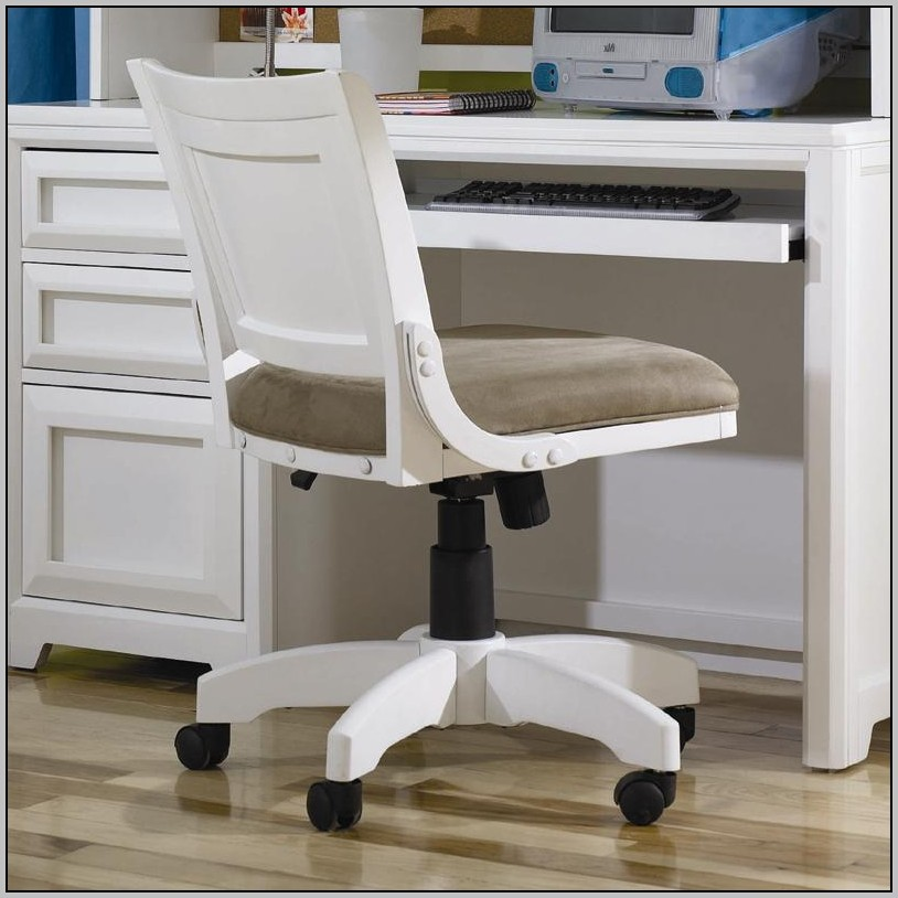 White Wooden Rolling Desk Chair