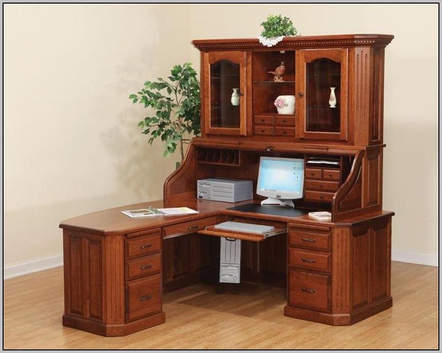 Wooden Corner Desk With Hutch