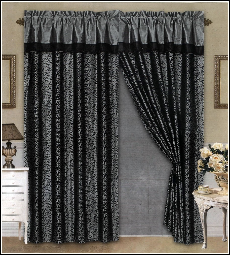 Black And Gray Window Curtains