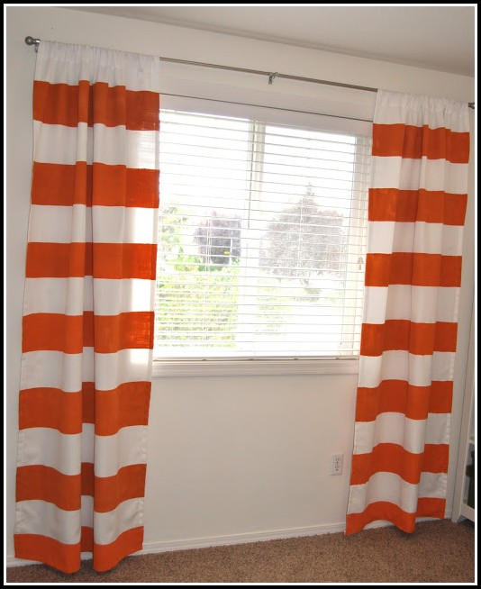 Black And Orange Striped Curtains