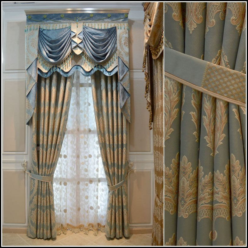Blue And Gold Damask Curtains