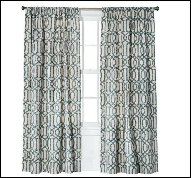 Blue And White Horizontal Striped Curtains