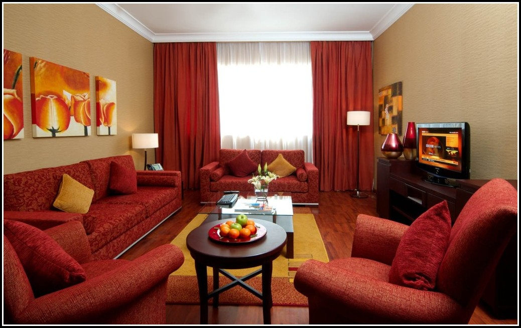 Bright Red Curtains Living Room