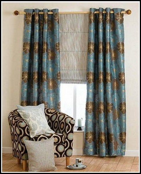 Brown And Teal Kitchen Curtains