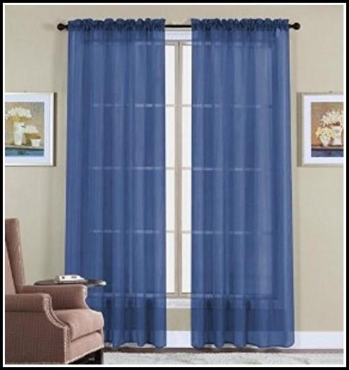 Navy Blue Sheer Curtain Scarf