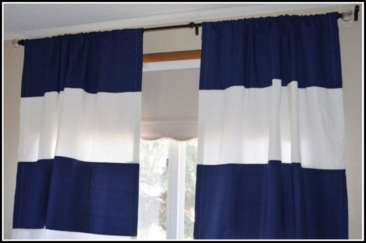 Navy Blue White Striped Curtains