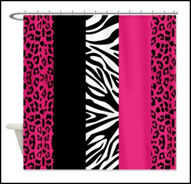 Pink Animal Print Shower Curtains