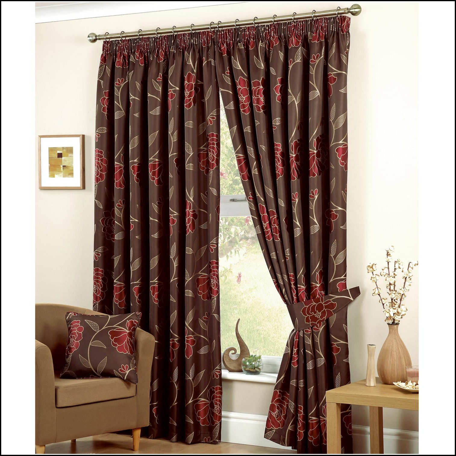 Red And Brown Eyelet Curtains
