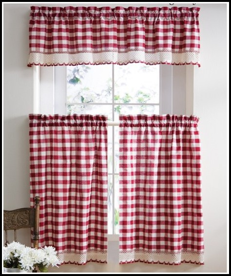 Red And Tan Country Curtains