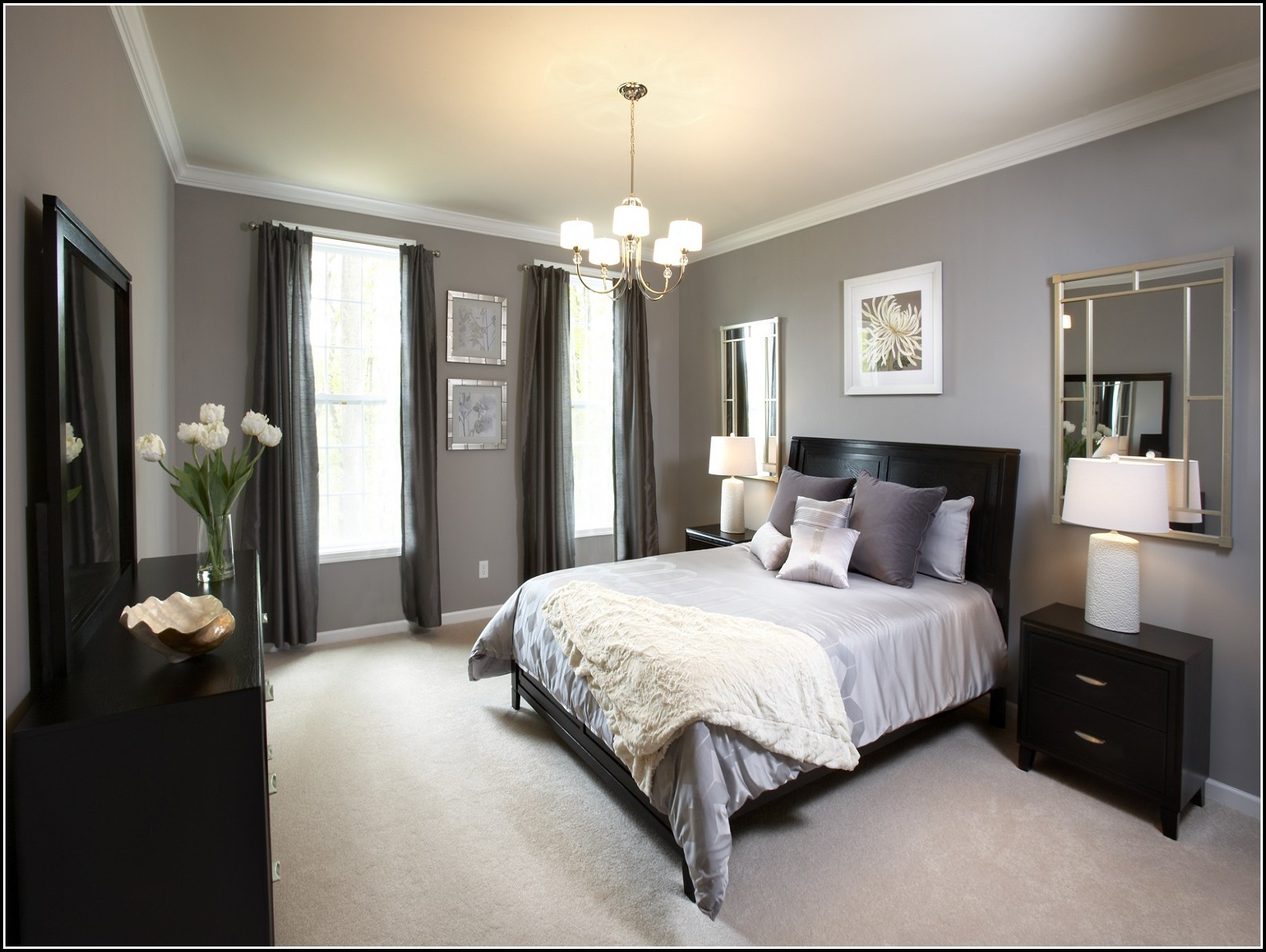 White And Gray Bedroom Curtains