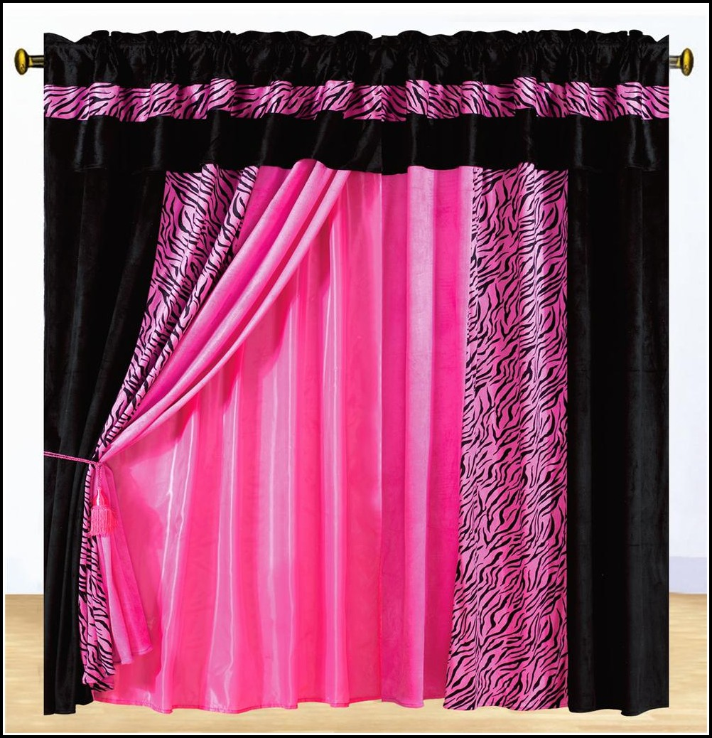 Black And Pink Curtains Bedroom
