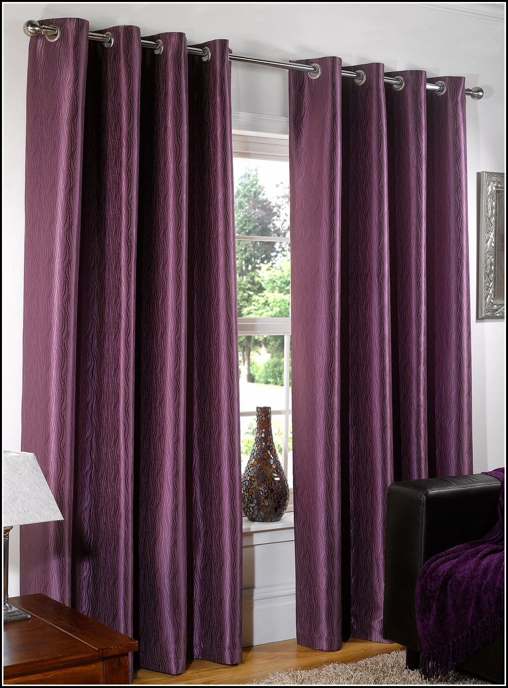 Black And Purple Curtains And Bedding