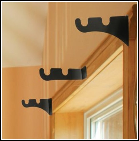 Black Double Curtain Rod Brackets
