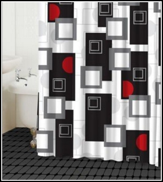 Black Gray And Red Curtains