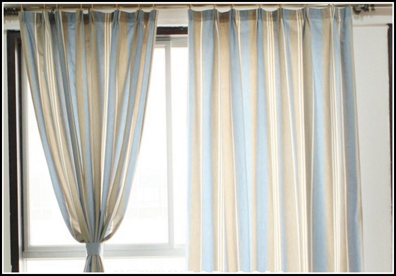 Blue And Beige Striped Curtains