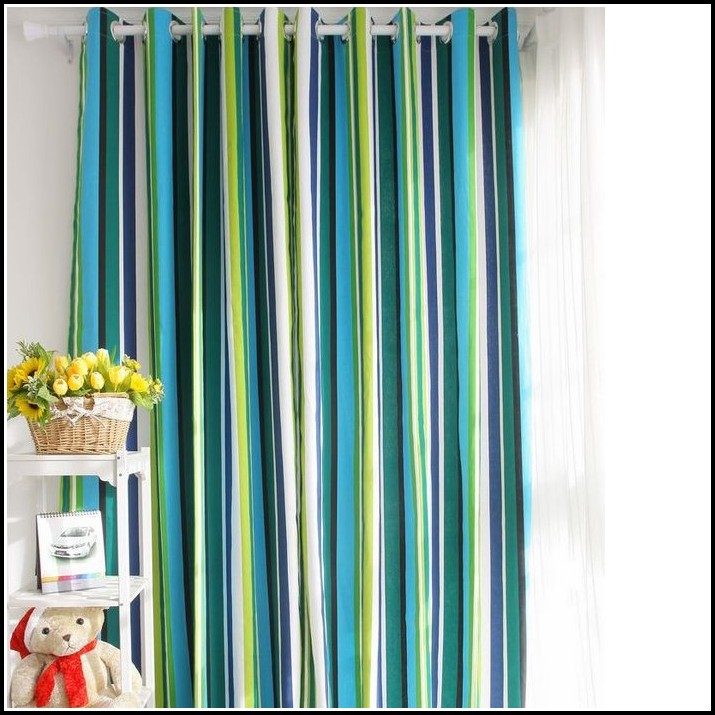 Blue Green And White Striped Curtains