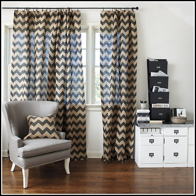 Brown And Beige Chevron Curtains