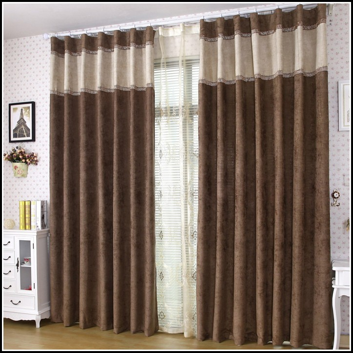 Brown And Black Floral Curtains